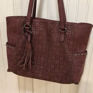 Beautiful deep red tote for fall